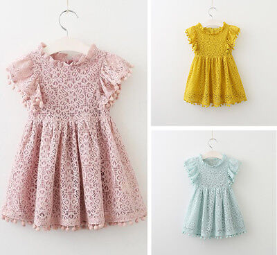 Summer Baby Girl Infant Lace Flower Dress Ruffle Short Sleeve Princess Party Top