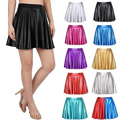Women's Shiny Metallic Wet Look Latex Skater Flared Short Pleated Mini Skirt