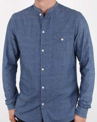 Pretty Green Nightingale Collarless Denim Shirt in Indigo Blue - grandad shirt
