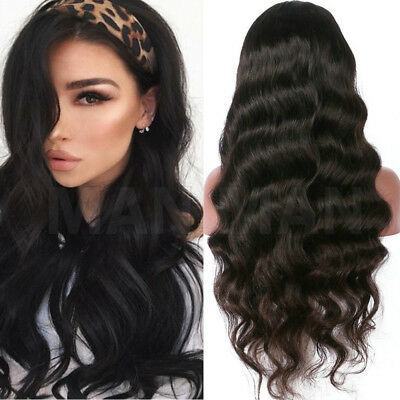 Full Wig Brazilian Virgin Human Hair Long Straight Body Wave Wigs Black  Women V0 4c926b3639