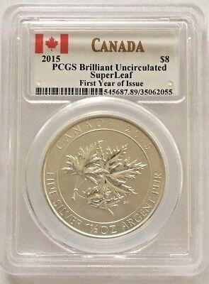 2015 $8 Silver Canadian Maple Leaf 1.5 oz .9999 SuperLeaf PCGS First Year Issue