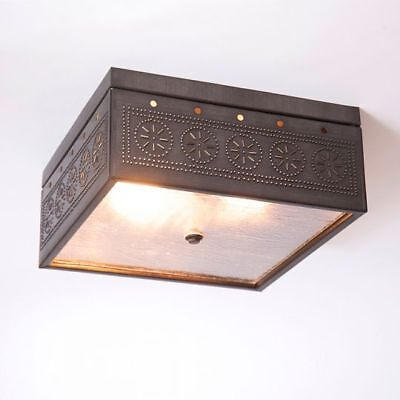 Country new KETTLE BLACK punched tin square ceiling light / nice