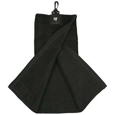 Masters Golf - Tri-folded Towel - Supplied With Bull Hanging Clip Black -