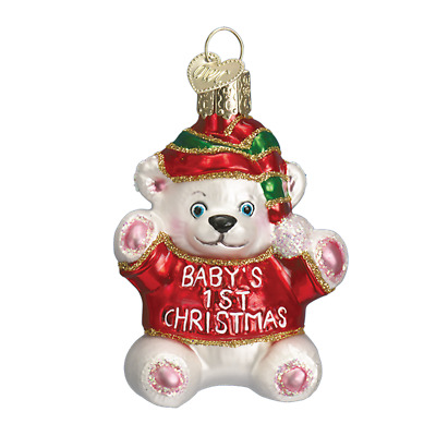 """Baby's First Christmas"" (12093)X Old World Christmas Glass Ornament w/ OWC Box"