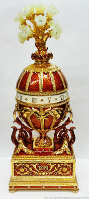 Tatiana Faberge Signed 1899 Imperial Music Box Egg Gilded Bouquet No Reserve