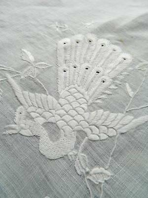 Antique white Pina linen tablecloth  hand embroidery - Peacocks & Butterflies