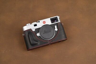 VR Handmade Genuine Leather Half Case for Leica M10 M10P Black Red Stitching