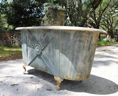 Claw Foot French Tin Garden Metal Bath Tub Stunning Aged Finish