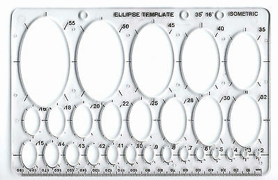 ELLIPSE ISOMETRIC OVAL GEOMETRY COLLEGE MATH STENCIL TEMPLATE SIZE 2mm - 50mm mb