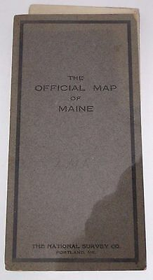 Antique 1915 Official Map Of Maine The National Survey Co. L. V. Crocker