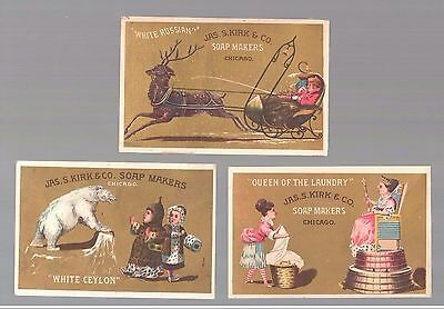 """Lot Of 3 Victorian """"Jas. S. Kirk & Co"""" Soap Makers Trade Cards c:1890s Free Ship"""