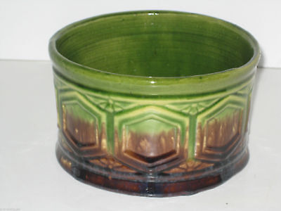 Brush McCoy Blended NuGlaze  Majolica Green Fern Dish #86 Geometric Shapes