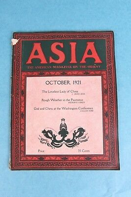 Vintage October 1921 Asia The American Magazine On The Orient