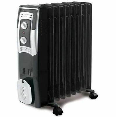 Bionaire Black Oil Filled Radiator 2kw Portable 9 Fin Electric Heater BOH2003B