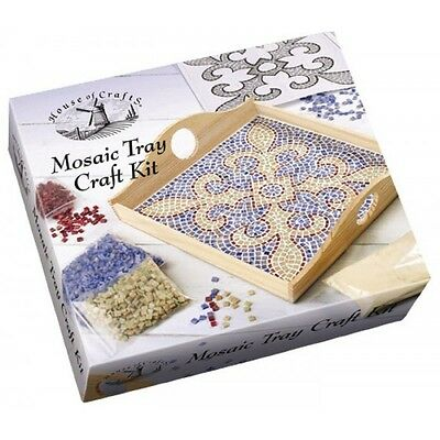 Mosaic Wooden Tray Craft Kit House Of Crafts Gift Set Coloured Tiles & Adhesive