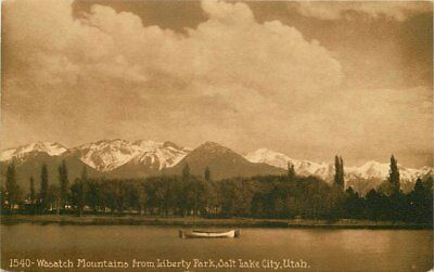 C-1910 Wasatch Mountains Liberty Park SALT LAKE CITY UTAH Mitchell postcard 3692