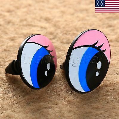 "5Pairs Oval Plastic Safety Eyes For Toy Puppets Doll Making DIY Craft  1""x0.75"""