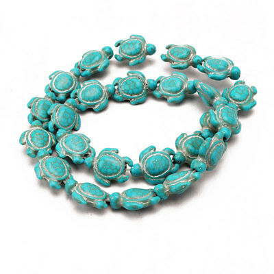 New Howlite Turquoise Carved Turtle Spacer Beads 14mm x 18mm 16'' A Strand