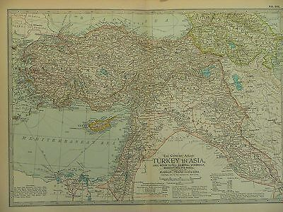 1897 Century Map of Turkey in Asia with Russia Trans-Caucasia