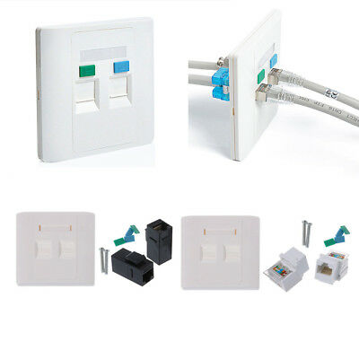 2 Ports Network RJ45 Wall Plate With Female to Female Connector