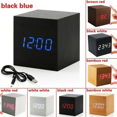USB Sound Control Wood Cube Digital LED Desk Alarm Clock Thermometer Timer