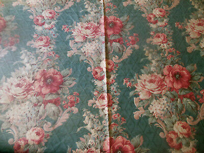 Vintage Shabby Floral Roses Barkcloth Era Cotton Fabric~ Smoky Blue Coral Red