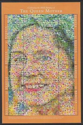 Bequia St Vincent - 2000, Queen Mother Flower Collage Photo Mosaics - MNH
