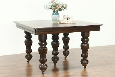Victorian Antique Square Quarter Sawn Oak Dining Table, 6 Leaves, Extends 10'