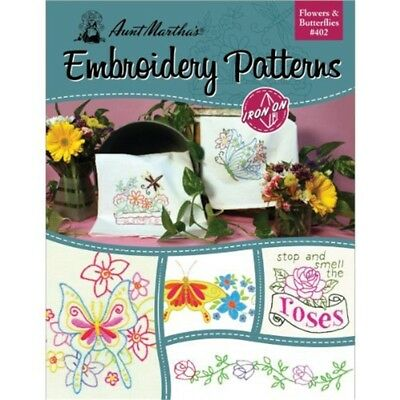 Aunt Martha's Flowers And Butterflies Embroidery Transfer Pattern Book, Over 25