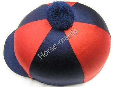 Hy Navy/red Pom Pom Riding Hat Silk Cover For Jockey Skull Caps One Size
