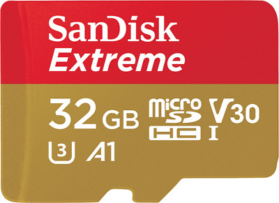 SanDisk Extreme 32GB Micro-SDHC A1 Card mit 100 MB/s UHS-3 Speed U3 + SD-Adapter