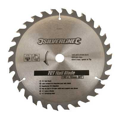 190mm Diameter Circular Saw Nail Blade 16mm Bore 30T To Fit For Skill Skillsaw