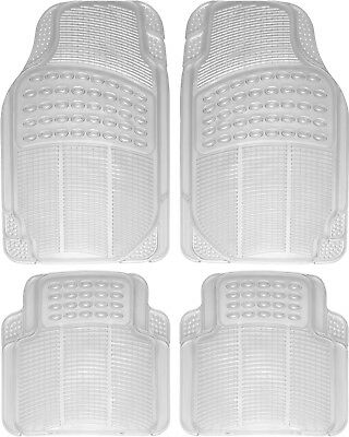 Car Floor Mats for All Weather Rubber 4pc Set Semi Custom Fit Heavy Duty Clear