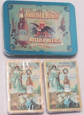 Vintage Anheuser Busch Budweiser Beer Playing Cards w/ Tin - Cards R Sealed