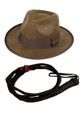 bfe9cb7057f Mens Adventurer Jones Accessory Set Hat Fedora 6 Foot Whip Brown One Size  Adult