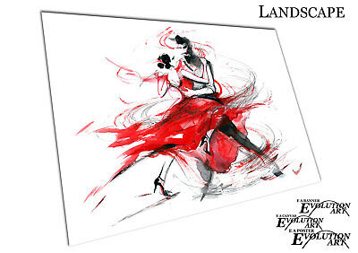 Watercolour illustration art The Tango Dancing Red Romance Poster print X1353