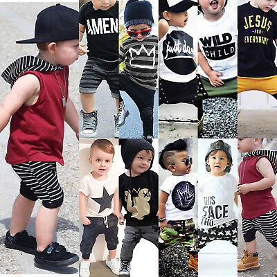 2PCS Toddler Kids Baby Boys T-shirt Tops+Long Pants Trousers Outfit Clothing Set