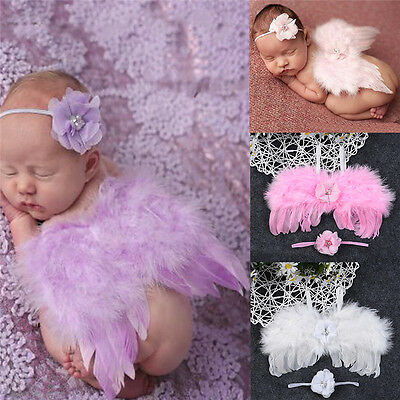 Newborn Baby Toddler White Angel Wings Costume Photo Photography Props Outfits