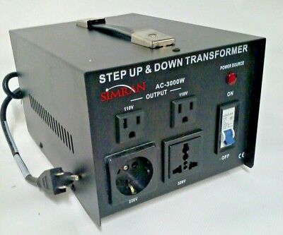 Simran AC-3000 Step Up/Down Transformer 220/240V to 110/120, 3000 Watt