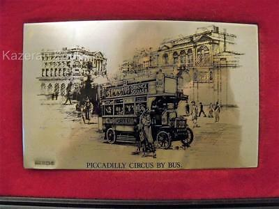 Vintage Birmingham Mint Hallmarked Sterling Silver Plaque Piccadilly Circus Bus
