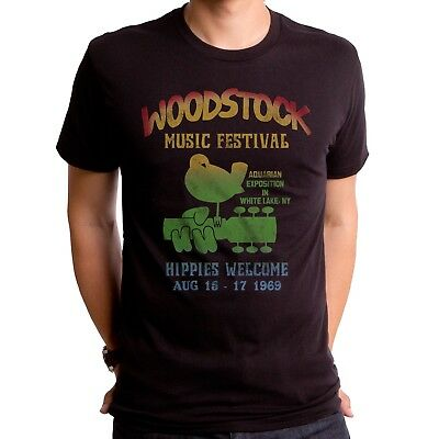 Authentic Woodstock Music Festival Bird Guitar Logo Hippies Welcome 1969 T-shirt