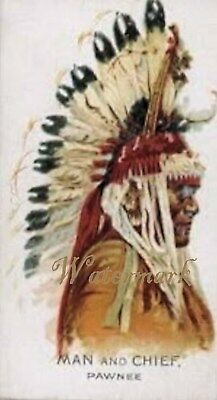 Antique Vintage Trading Card Fabric Quilt Block Native American Man & Chief