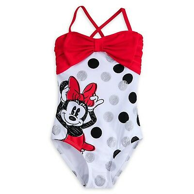 Disney Store Minnie Mouse Cute Swimsuit for Girls Size 3 4 5/6 7/8 9/10 13 New