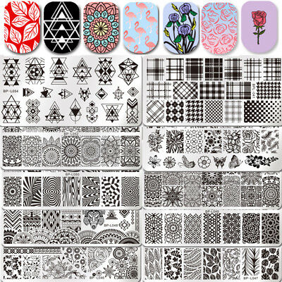 BORN PRETTY Rectangle Nail Stamping Plates Negative Space Flower Stamp Templates