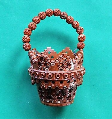 Carved Coquilla Nut PIN BASKET