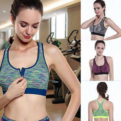 83445075e04e8 Sports Bra Running Gym Yoga Padded Fitness Stretch Workout Top Tank Zipper  Women
