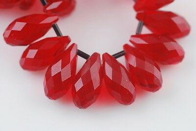 10pcs 20x10mm Teardrop Faceted Crystal Glass Loose Beads Pendants Deep Red