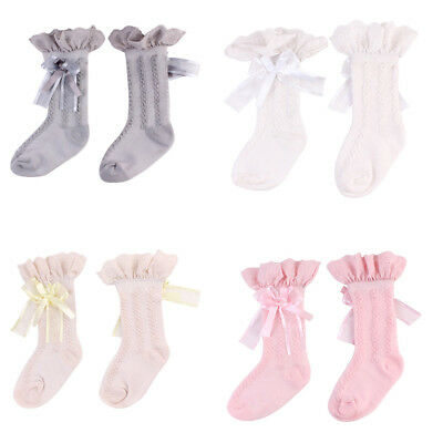 Baby Girl Toddler Kid Bow Lace Frill Knee High Length Warmer Cotton Socks
