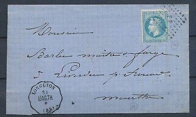 1870 Lettre N°29 obl FP + Conv. Station LONGUYON LONG.TH. MOSELLE(55) SUP. P3025