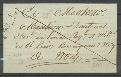 1812-18 Lettre marque P55P BOULAY 28*8,5mm MOSELLE(55) Indice 17 X1838